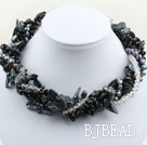 Assorted Multi Strands Black Teeth Shape Pearl Crystal and Black Agate Necklace