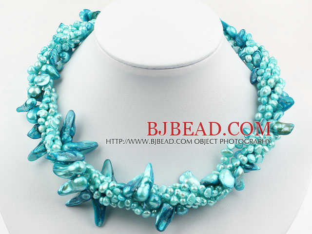 Assorted Multi Strands Lake Blue Teeth Shape Pearl Necklace