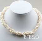 3-4mm White Freshwater Pearl Twistted Necklace