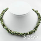 3-4mm Olive Green Freshwater Pearl Twistted Necklace under $ 40