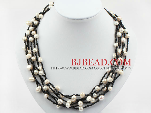Multi Strands White Freshwater Pearl and Black Glass Beads Necklace