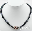 Black Freshwater Pearl and Black Colored Glaze Necklace under $ 40