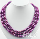 Three Strands 8-9mm Round Dark Purple Pearl Necklace with Shell Flower Clasp