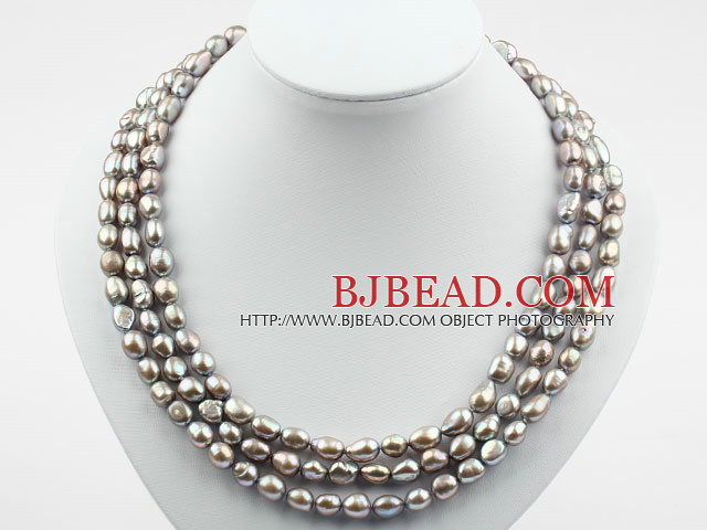 Three Strands 8-9mm Gray Baroque Pearl Necklace with Shell Flower Clasp
