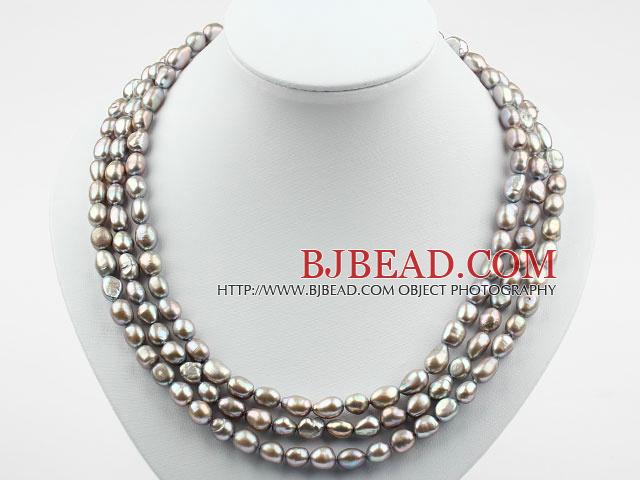 Tre Strands 8-9mm Grigio barocco collana di perle con chiusura Flower Shell b2da70f2fa98