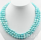 Three Strands 8-9mm Lake Blue Baroque Pearl Necklace with Shell Flower Clasp