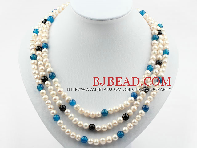 Three Strands Round White Freshwater Pearl and Blue Black Agate Necklace with Shell Flower Clasp