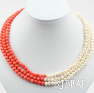 Three Strands 5-6mm Round White Freshwater Pearl and Red Coral Necklace