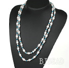 Long Style White Freshwater Pearl and Blue Crystal Necklace