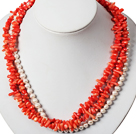 Three Strands Red Coral and White Pearl Necklace under $ 40