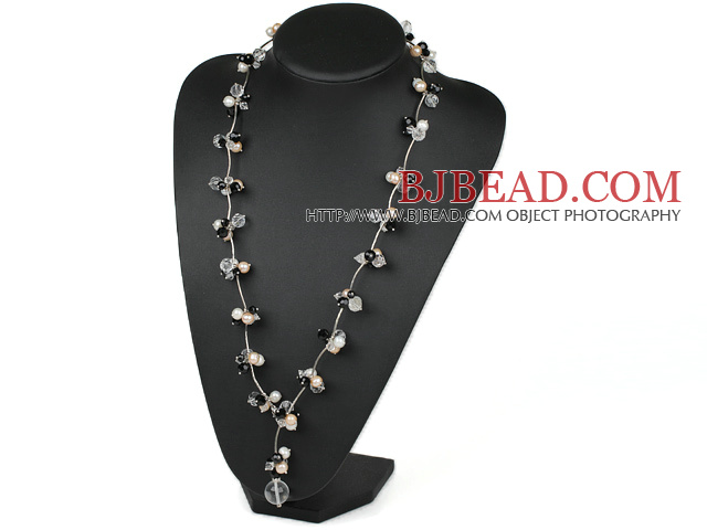 Assorted White and Pink Freshwater Pearl and Black Clear Crystal Y Shape Necklace