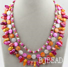 Assorted Multi Color Teeth Shape Freshwater Pearl and Multi Color Shell Necklace under $ 40