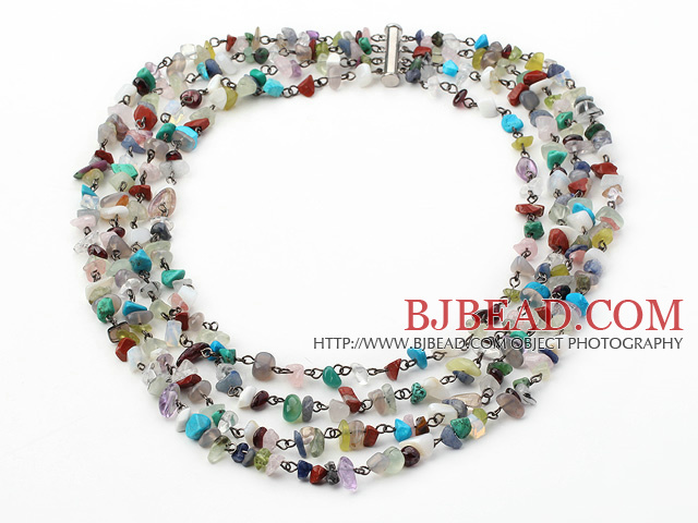 Four Strands Assorted Multi Stone Necklace with Slide Clasp