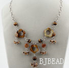 Brown Series Freshwater Pearl Crystal and Tiger Eye Necklace with Metal Chain under $ 40