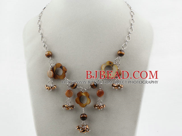 Brown Series Freshwater Pearl Crystal and Tiger Eye Necklace with Metal Chain
