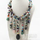 Assorted Multi Color Multi Stone Necklace with Stone Tassel
