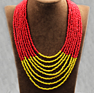 Multi Strands Multi Layered 4-5mm Red and Yellow Plastic Seed Necklace