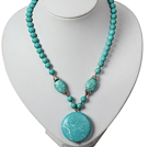 Turquoise Necklace with Round Shape Turquoise Pendant