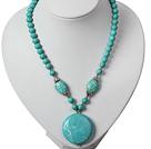 Turquoise Necklace with Round Shape Turquoise Pendant