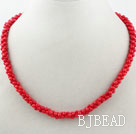 Digital 8 Shape Red Coral Necklace with Lobster Clasp