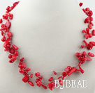 Multi Strands Assorted Red Coral Necklace with Lobster Clasp