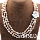 Three Strands White Pink Purple Baroque Pearl Necklace with Shell Flower Clasp under $ 40
