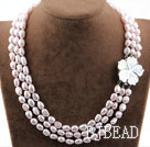 Three Strands Baby Pink Baroque Pearl Necklace with Shell Flower Clasp