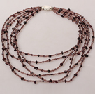 Multi Strands Crystal and Garnet Necklace