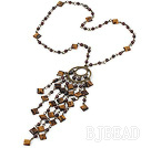garnet and blue tiger's eye necklace