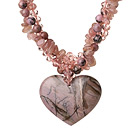 Nice Twisted Strawberry Quartz Rhodonite and Manmade Ctystal with Heart Shape Pendant Necklace