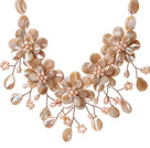 Fashion Beautiful Design Drop Shape Shell and Pink Freshwater Pearl Flower Necklace
