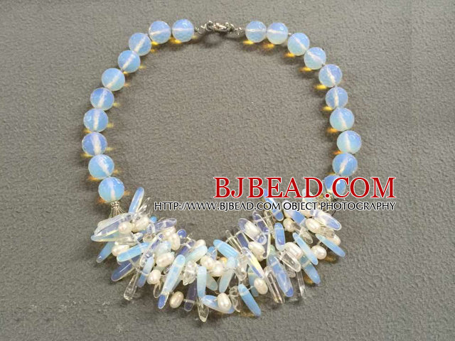 Pretty Fashion Design Natural White Freshwater Pearl Opal Crystal Bib Necklace