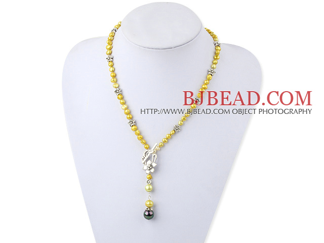 17.5 inches dyed yellow pearl Y shape necklace with toggle clasp