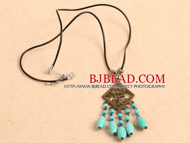 Simple Retro Style Chandelier Shape Green & Blue Turquoise Beads Tassel Pendant Necklace With Black Leather