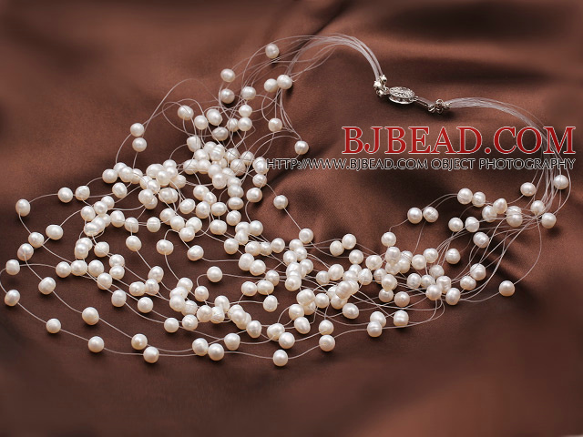 Elegant Style Multi Layer Natural White Pearl Beaded Bridal Necklace
