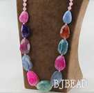 chunky style faceted colorful agate necklace with bold metal chain
