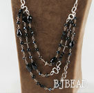 multi strand black agate crystal necklace with metal chain