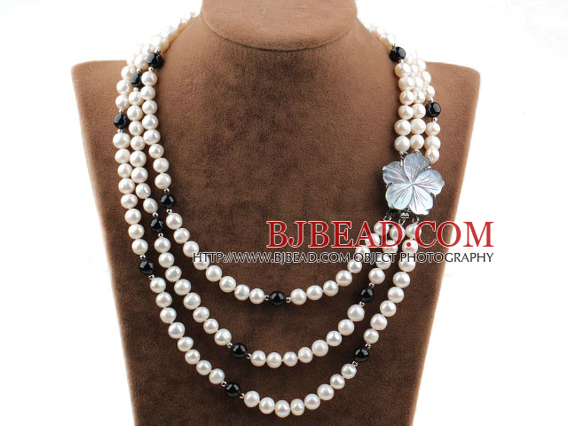 Three Strands White Freshwater Pearl and Black Agate Necklace with Shell Flower Clasp