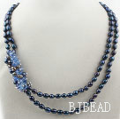 Two Strands Black Freshwater Pearl and Blue Crystal Necklace under $ 40