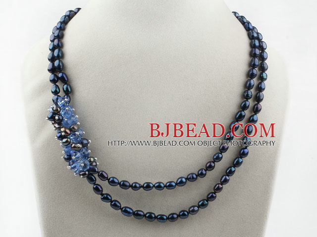 Two Strands Black Freshwater Pearl and Blue Crystal Necklace