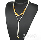 Simple Design Yellow Freshwater Pearl Necklace with Light Yellow Cord