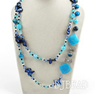 assorted blue crystal and agate long style fashion necklace