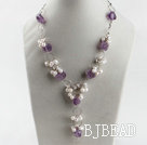 elegant white pearl and amethyst Y shape necklace