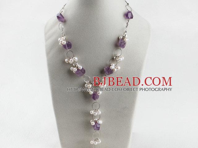 339ebf9a3ad1 perla blanca y elegante collar de amatista en forma de Y