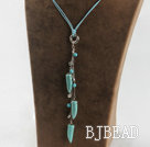 simple style horn shape turquoise pendant necklace