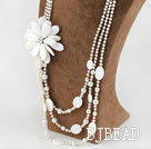 New Design White Pearl and Big Shell Flower Bridal Necklace under $100