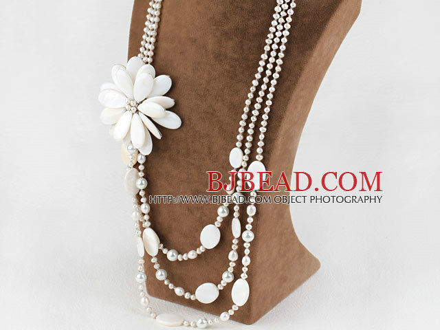 New Design White Pearl and Big Shell Flower Bridal Necklace