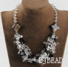 hot design white crystal and black agate necklace under $ 40