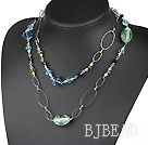 assorted long style crystal and colored glaze necklace with metal loop under $ 40