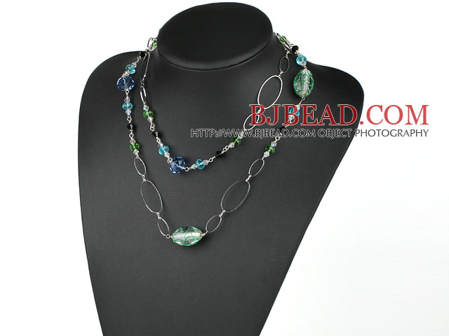 assorted long style crystal and colored glaze necklace with metal loop